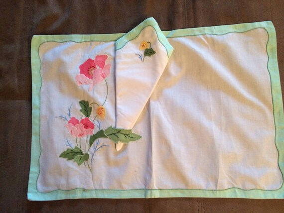 Gorgeous Vintage Handmade Placemats with Built in Napkin Holder Set of 8