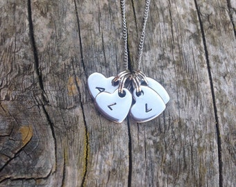 Handstamped heart initial necklace