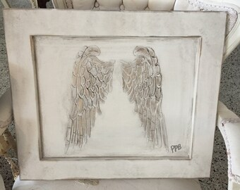 Angel wings on Board or Canvas