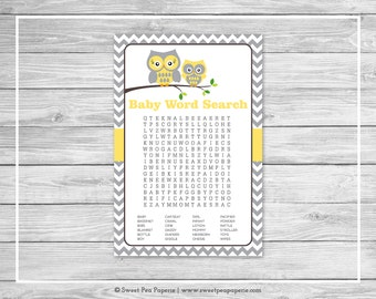Owl Baby Shower Baby Word Search Game - Printable Baby Shower Word Search Game - Yellow Owl Baby Shower - Owl Shower - Word Search - SP133