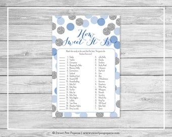 Blue and Silver Baby Shower How Sweet It Is Game - Printable Baby Shower How Sweet It Is Game - Blue and Silver Glitter Baby Shower - SP124
