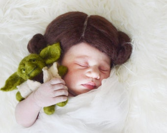 Newborn Felted Princess Leia Wig and Stuffed Yoda, MADE TO ORDER; hand felted; newborn photography prop; Star Wars