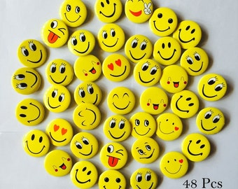 Adorable Party Favor Funny Smiles Mini Pinback Button One Inch 48 Pcs