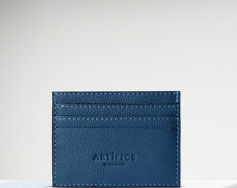 Leather Cardholder Wallet Blue