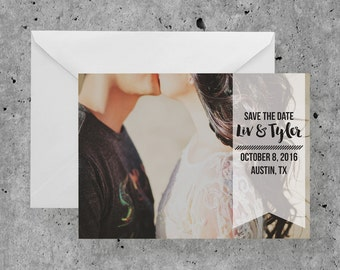 Modern Banner Save the Date | Calligraphy, Hand Script, Modern, Banner, Photo Card, Printable Save the Date