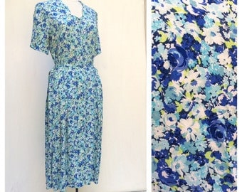Liberty Pretty floral Blue dress Feminine and Chic M L