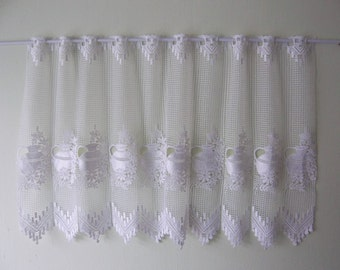 French Lace café curtain, white, Shelf cover, jug and flower design -French vintage, French décor – Demi Rideau de café