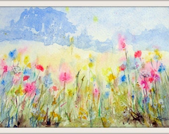 Edge of the meadow, print from my original watercolour painting.