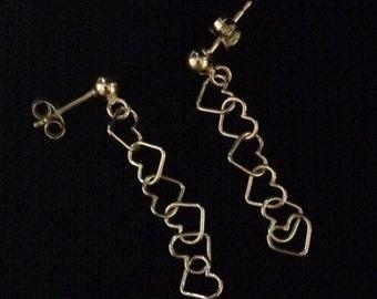 Silver interlooped heart drop earrings