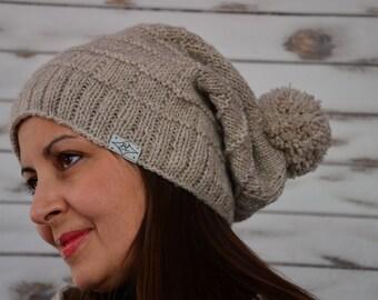 Knit slouchy beanie, pom pom hat, winter hat, Oatmeal Brown womens  hat, wool pom pom beanie, Valentine girlfriend gift