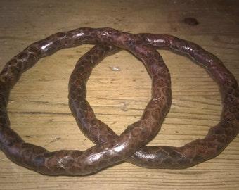 2 Vintage Leather Snakeskin Bangles