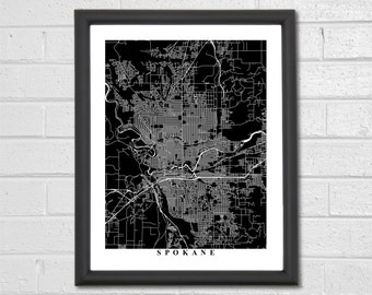 Spokane Map Art - Map Print - Black and White Print - Washington - Personalized - Travel Gift - Housewarming Birthday Engagement