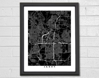 Akron Map Art - Map Print - Black and White Print - Ohio - Hometown Map - Personalized - Custom - Travel Gift - Housewarming Engagement