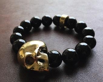 Brass Skull Bracelet W/ Black Onyx