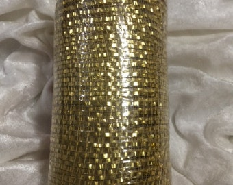 Gold Mesh Ribbon with trendy shimmering metallic stripes