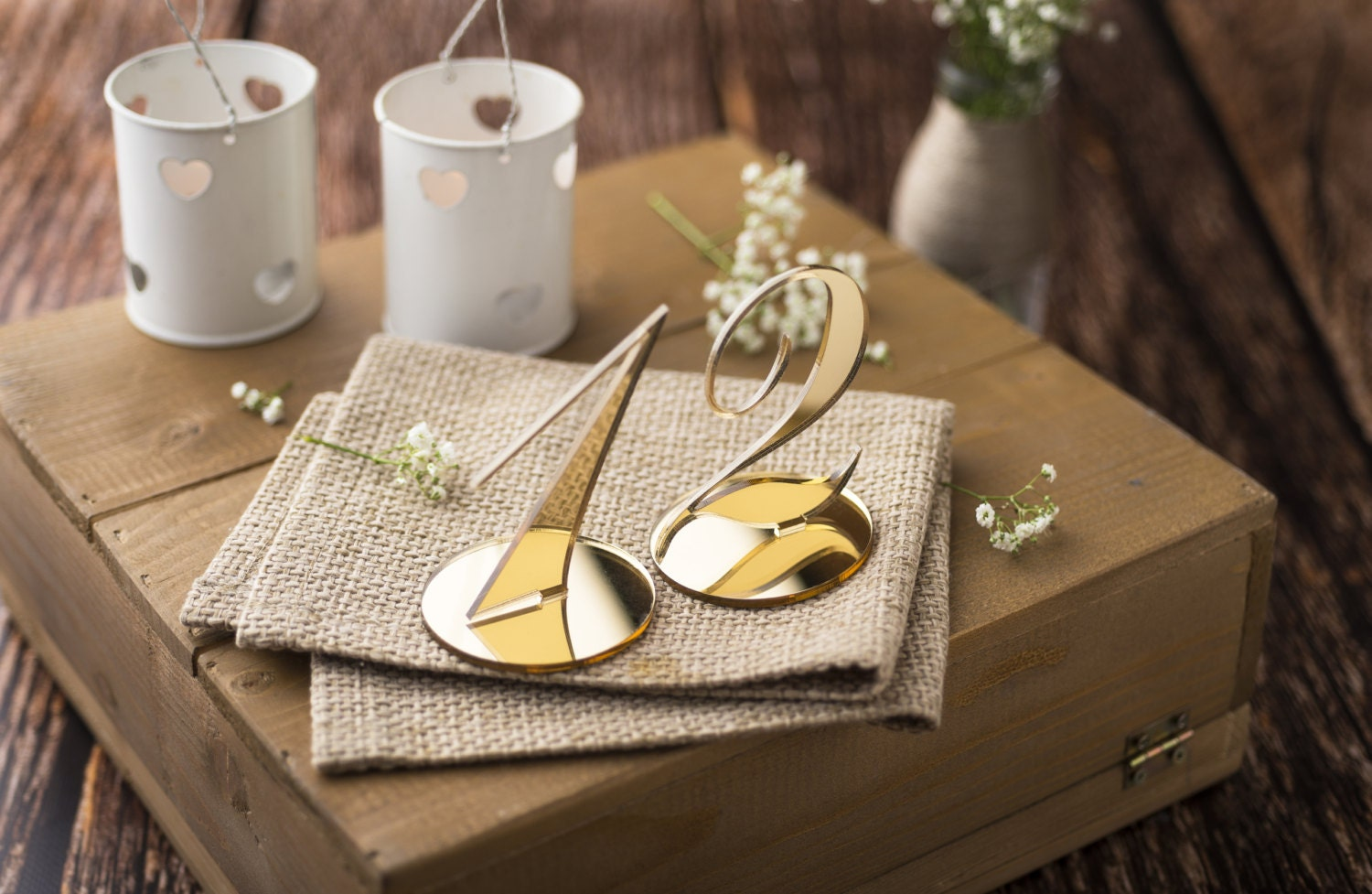 Wedding table numbers for centerpieces gold mirror