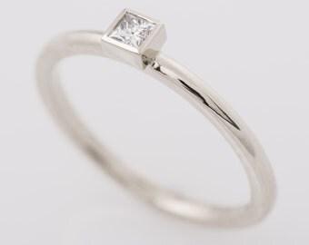 Princess Cut Diamond Engagement Ring, 14K White Gold Ring, Bezel Ring, Square Diamond Ring, Dainty Ring, Stacking Diamond Ring