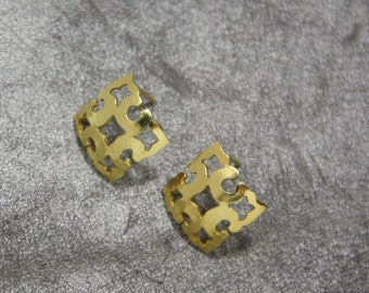 Gift For Her, Gold Studs Earrings, Gold Gift Earrings, Concave Earrings, Gold Plated Earrings, Gold Square Geometric Studs, Gift Earrings