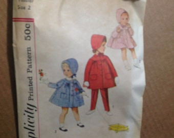 Mid-century Pattern SIMPLICITY #4199.  Toddler Size 2