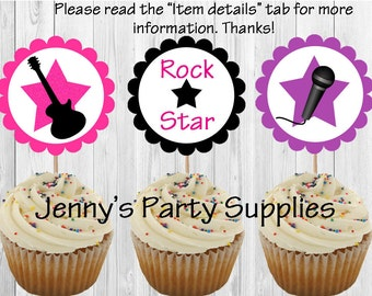 Set of 12 Rockstar Cupcake Toppers, Rockstar Birthday Party, Guitar Cupcake Toppers, Rock Star Cupcake Toppers
