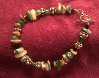 Silver, Green, and Tan Beaded Bracelet