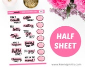 "H024 | DOODLE WORDS sampler Halfsheet 1"" Repositionable stickers Perfect for Erin Condren Life Planner, Filofax, Plum Paper or scrapbook"