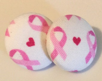 Breast Cancer Awareness Button Earrings, Earrings, Awareness, Gift