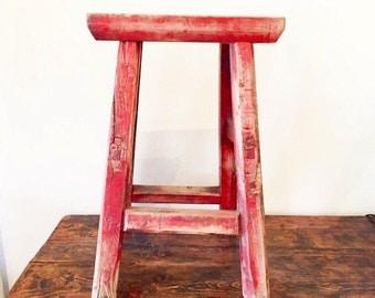Red Vintage Chinese Stool, Wood Stool, Strange Imports