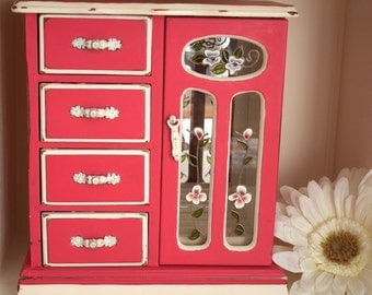 PINK SHABBY CHIC Country Upcycled Jewellery CabinetStorage Organisation Box
