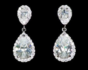 Cubic Zirconia Drop Earrings, Bridal Earrings, Wedding Earrings, Crystal Drop Earrings, Clear Crystal Earrings, Dangle Earrings, UK Seller