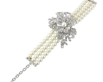 Pearl Bracelet, Bridal Bracelet, Pearl Crystal Bracelet, Multi-Strand Pearl Bracelet, Vintage Style Bracelet, Ivory Pearl Wedding Bracelet