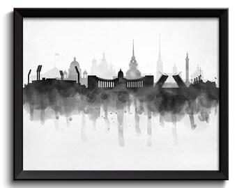 Saint Petersburg Skyline Russia Cityscape Art Print Poster Black White Grey Watercolor Painting Landscape Home Decor Wall Art