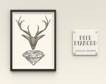A6 Print Deer Diamond