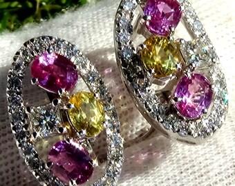 Sapphire earrings, pink sapphire earrings, sapphire diamond earrings, gemstone earrings, fine earrings, estate jewelry,estate earrings