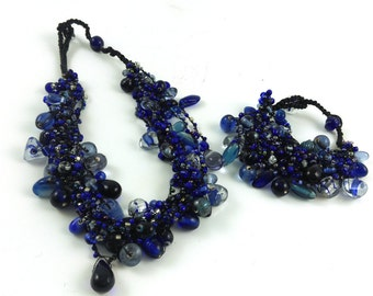 Cool Blue Glass Cluster Bead Necklace and Bracelet Combo (save 15% on buying the combo set)