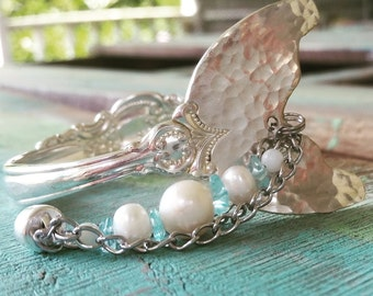 Mermaid Bracelet, Mermaid Charm, Mermaid Tail, Spoon Bracelet, Spoon Jewelry, Pearl Bracelet, Mermaid Jewelry, Little Mermaid, Mermaid Party