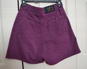 Purple high waisted shorts