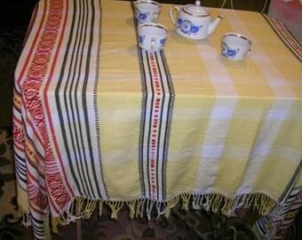 USSR Beautiful linen tablecloth 100% natural. Soviet vintage handmade.Ukrainian style