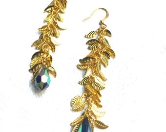 Gold Leaf Dangle Chain Earrings with Swarovski Crystal Drops