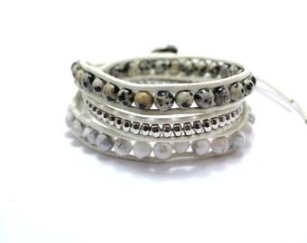 SALE!! White Wrap Bracelet; Leather Wrap Bracelet, Beaded Leather Bracelet, White breaded Bracelet, Boho Wrap, Bohemian