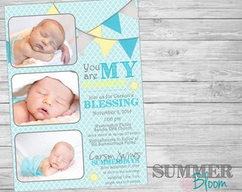 You Are My Sunshine Baby Announcement and Blessing Invitation