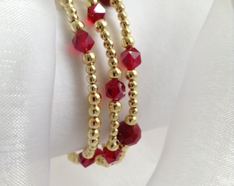 Three Gorgeous Gold Ball Bracelets with Siam Red Clear and Opaque Faceted Glass Beads
