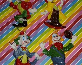 Vintage Lot of four 1970s Blow Molded Plastic Clown Christmas Ornament