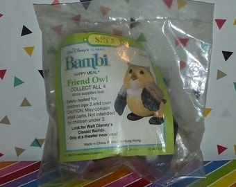 Vintage 1980s McDonald's Happy Meal Disney Bambi Toy -- Friend Owl (Still Sealed)