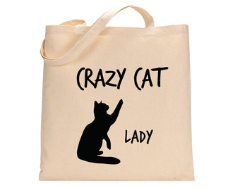 Crazy Cat Lady - Tote Bag - Cat Lady - Gifts For Cat Lovers - Cat Lovers - Canvas Tote Bags - Gifts For Mom - Shopping Bags -  Cat Gifts