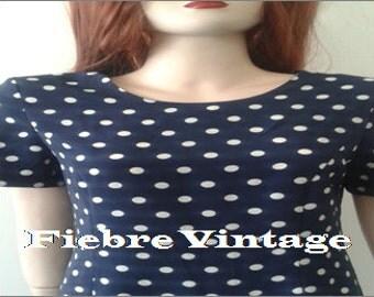 DRESS polka dots polka dots vintage 80/90's dark blue and white
