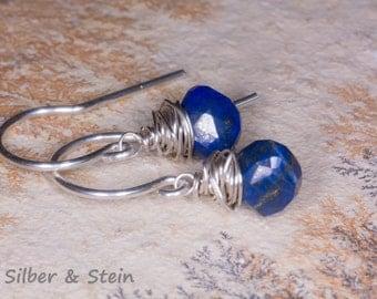 Lapis Lazuli Earrings Silver Small