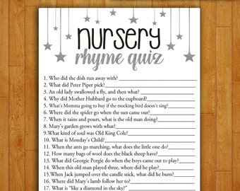 Baby Shower Game Nursery Rhyme Quiz - Printable Digital Instant Download - SILVER Stars and Night Sky Moon Gender Neutral Boy Girl Shower