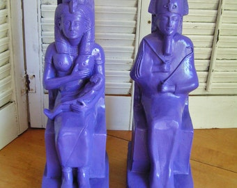 Vintage Pair Made in Mexico Heavy and Large Chalkware Egyptian Pharaoh and Queen with Child Bookends Upcycled in Purple Egyptian Decor