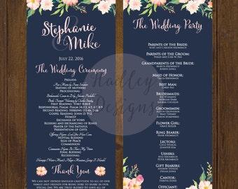 Floral Wedding Program, Modern Wedding Program, Navy and Blush Wedding Program, Classic Wedding Program, Elegant Program